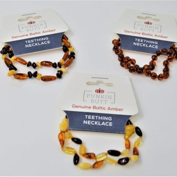 Picture of a an amber necklace made by Punkin Butt as a teething solution for babies.