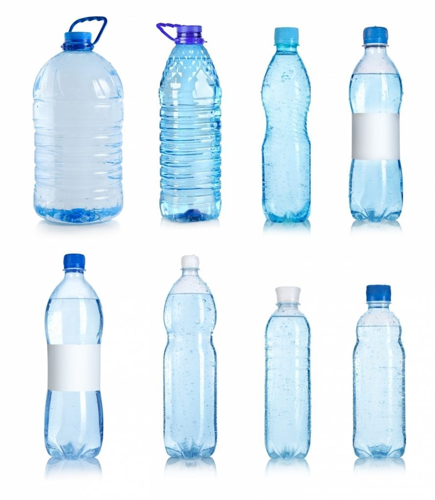 image of eight empty plastic waterbottles